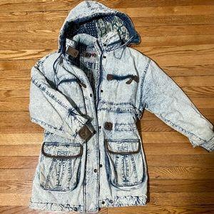 Vintage East West Acid Washed Hooded Jacket!